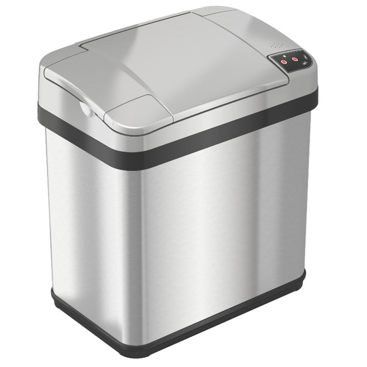 iTouchless Stainless Steel Multifunction Sensor Trash Can, 2-Gallon, Silver
