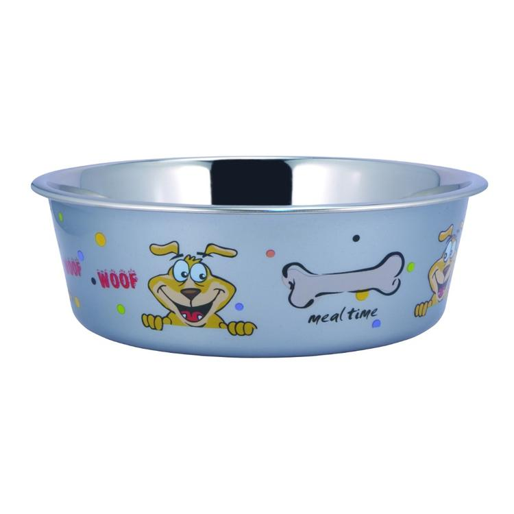 Stainless Steel Pet Bowl with Sneaky Dog Design and Rubber Base, Multicolor